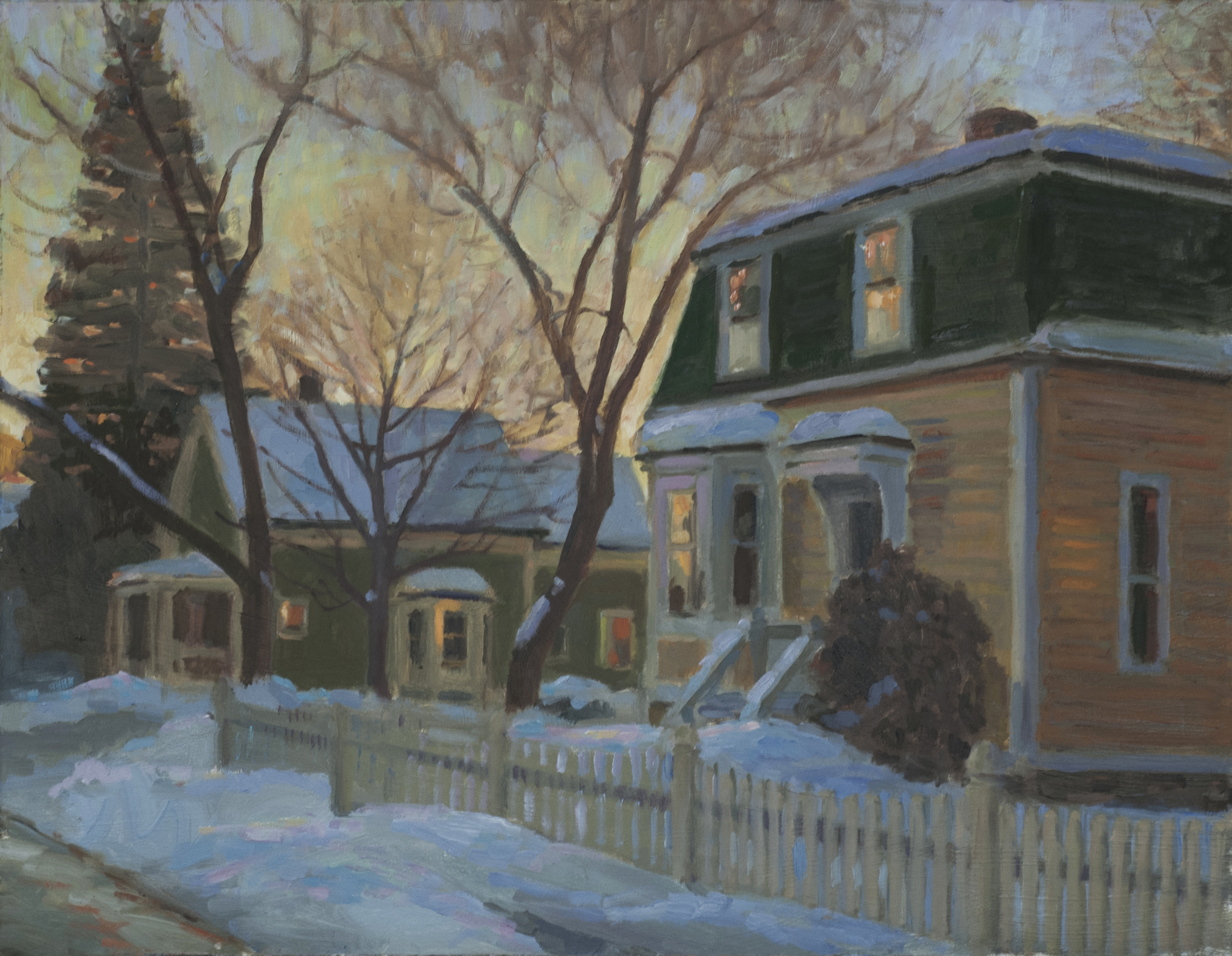 Winter Town Street, Oil on board, 14x18 inches.