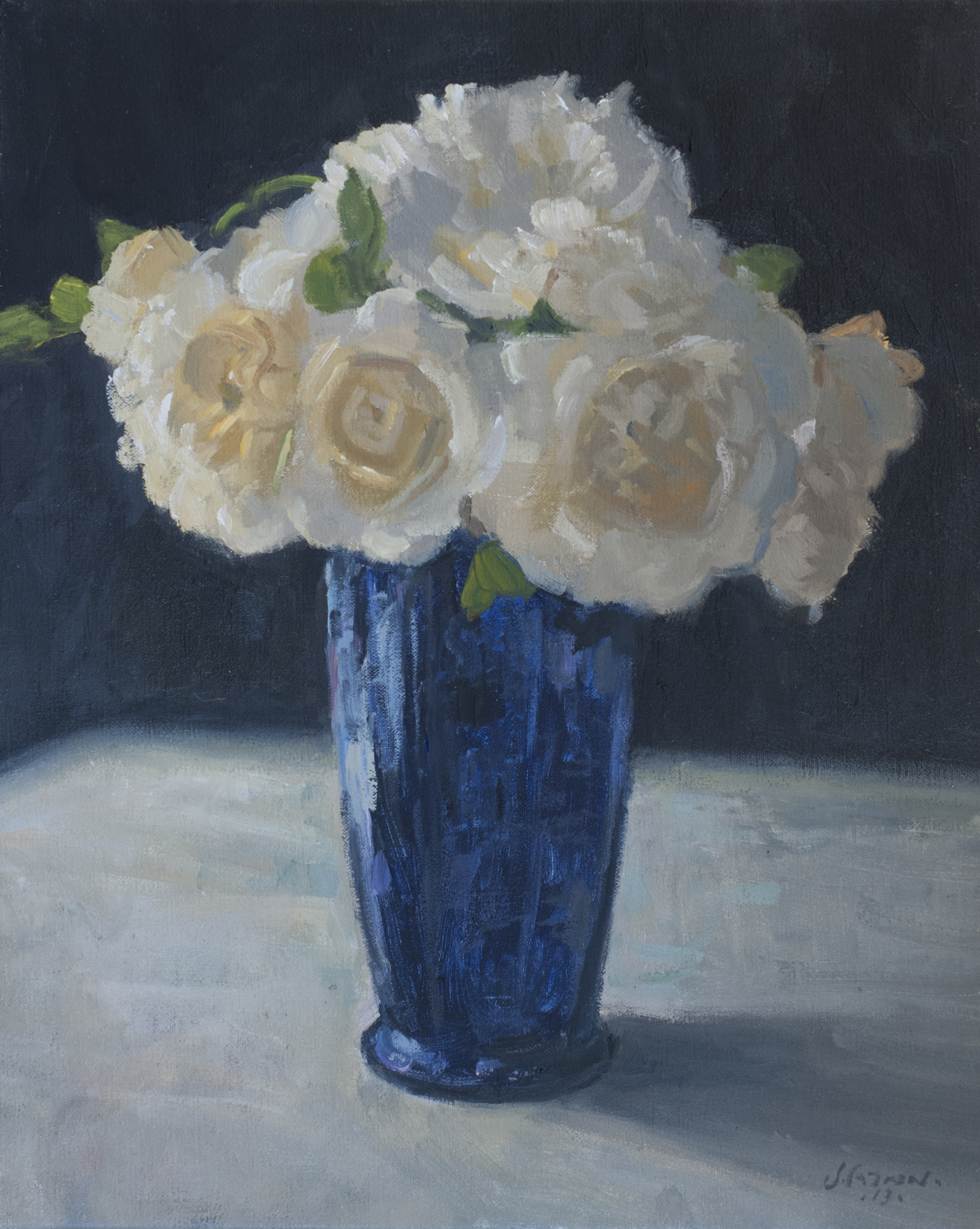 Blue Vase, Oil on linen, 16x12 inches.