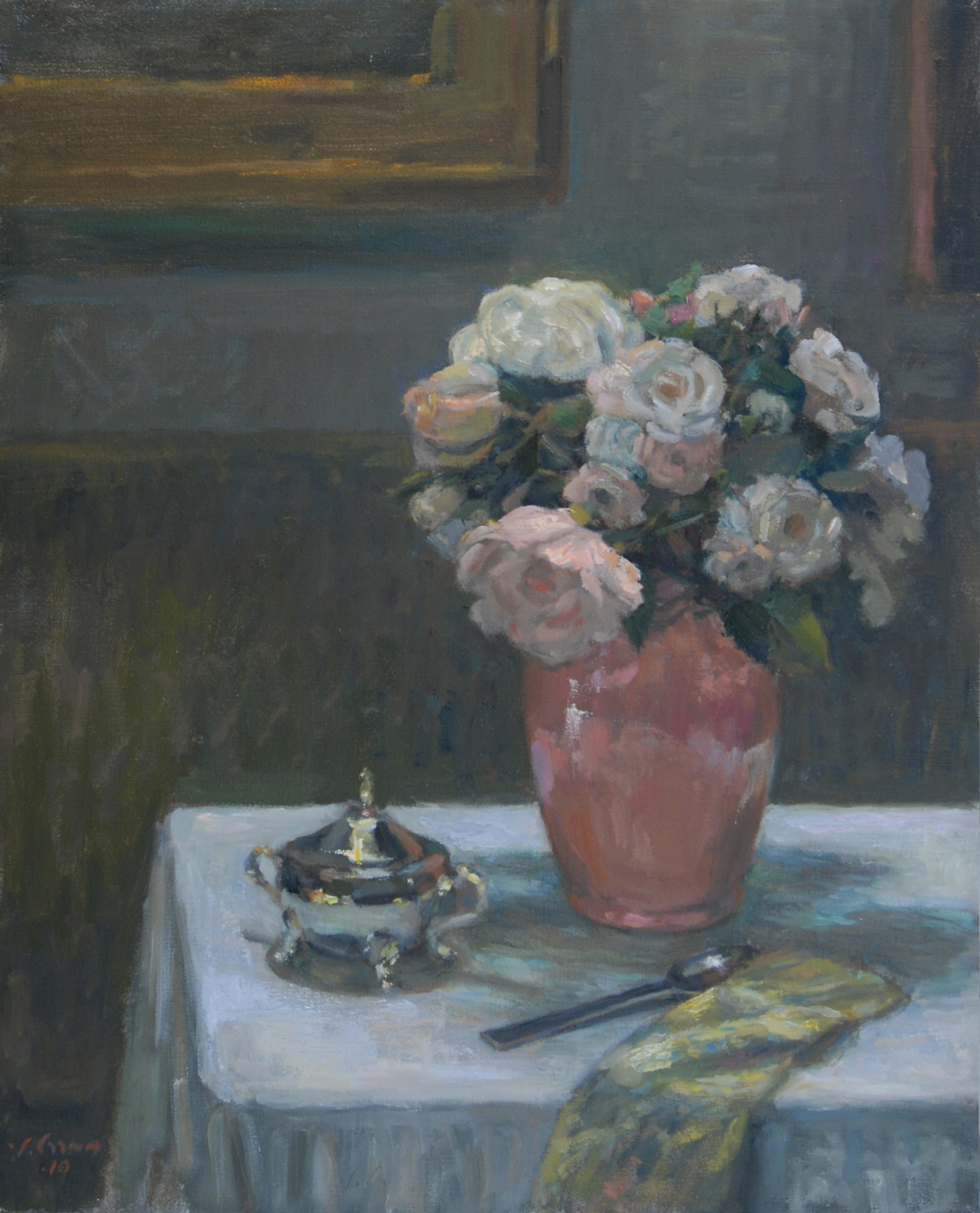 Pink Vase, Oil on linen, 20x16 inches.
