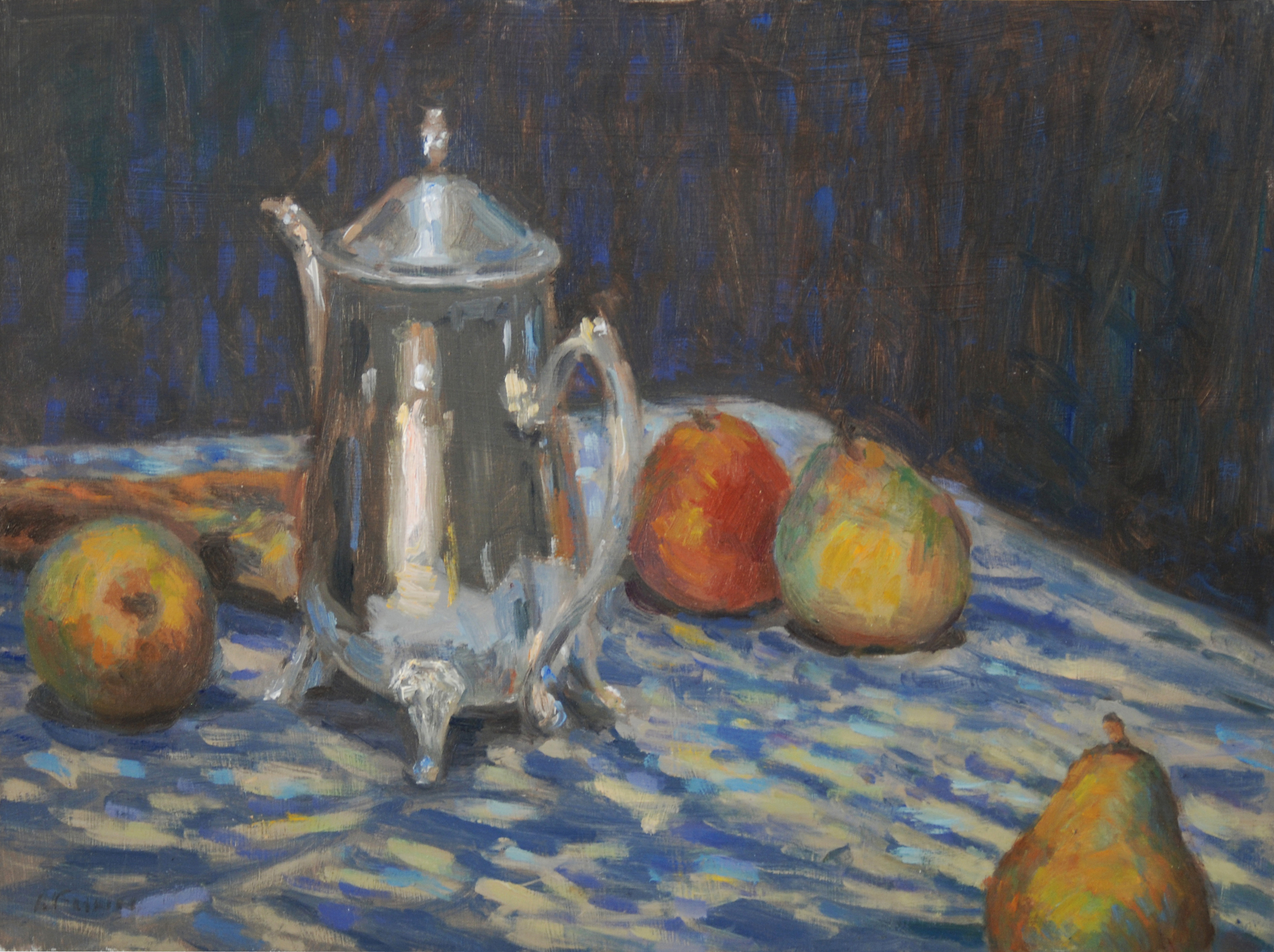 Teapot with Pears, Oil on board, 16x12 inches.