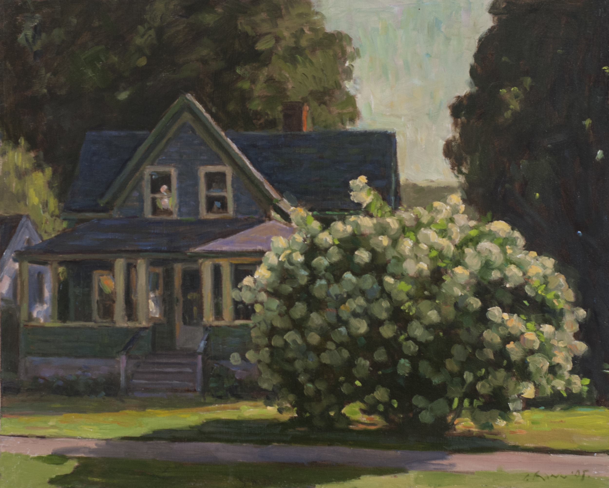 House with Hydrangea, Oil on board, 16x20 inches.