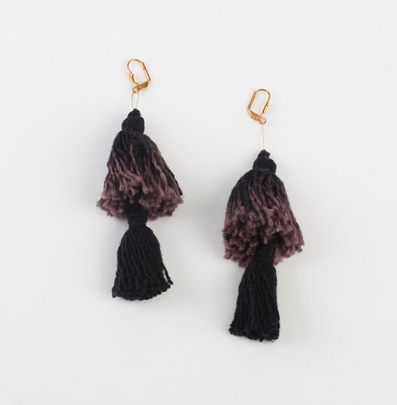 My friend Laila's mesmerizing hand-dyed one of a kind fringe earrings! Check her  Titty Hawk jewelry line on etsy.