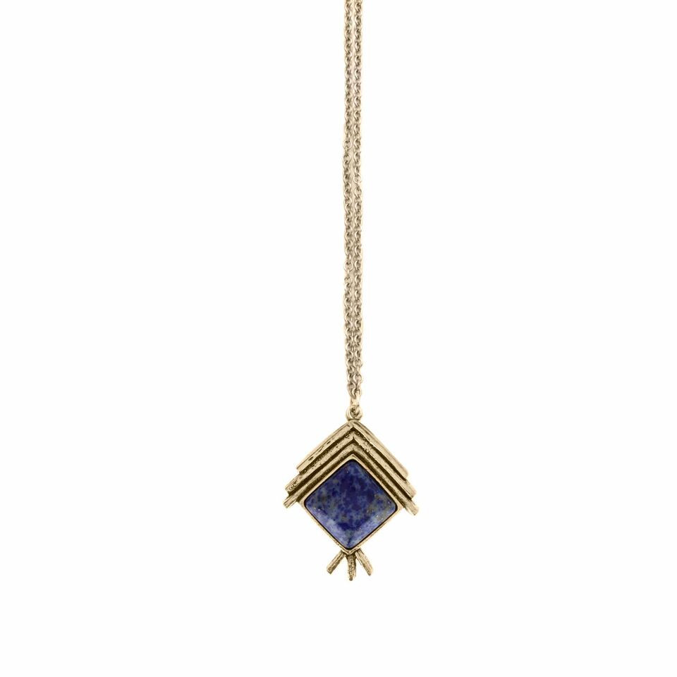 "Denim Lapis Gold-plated ""Indian Summer Necklace"" $78, Made in the USA"