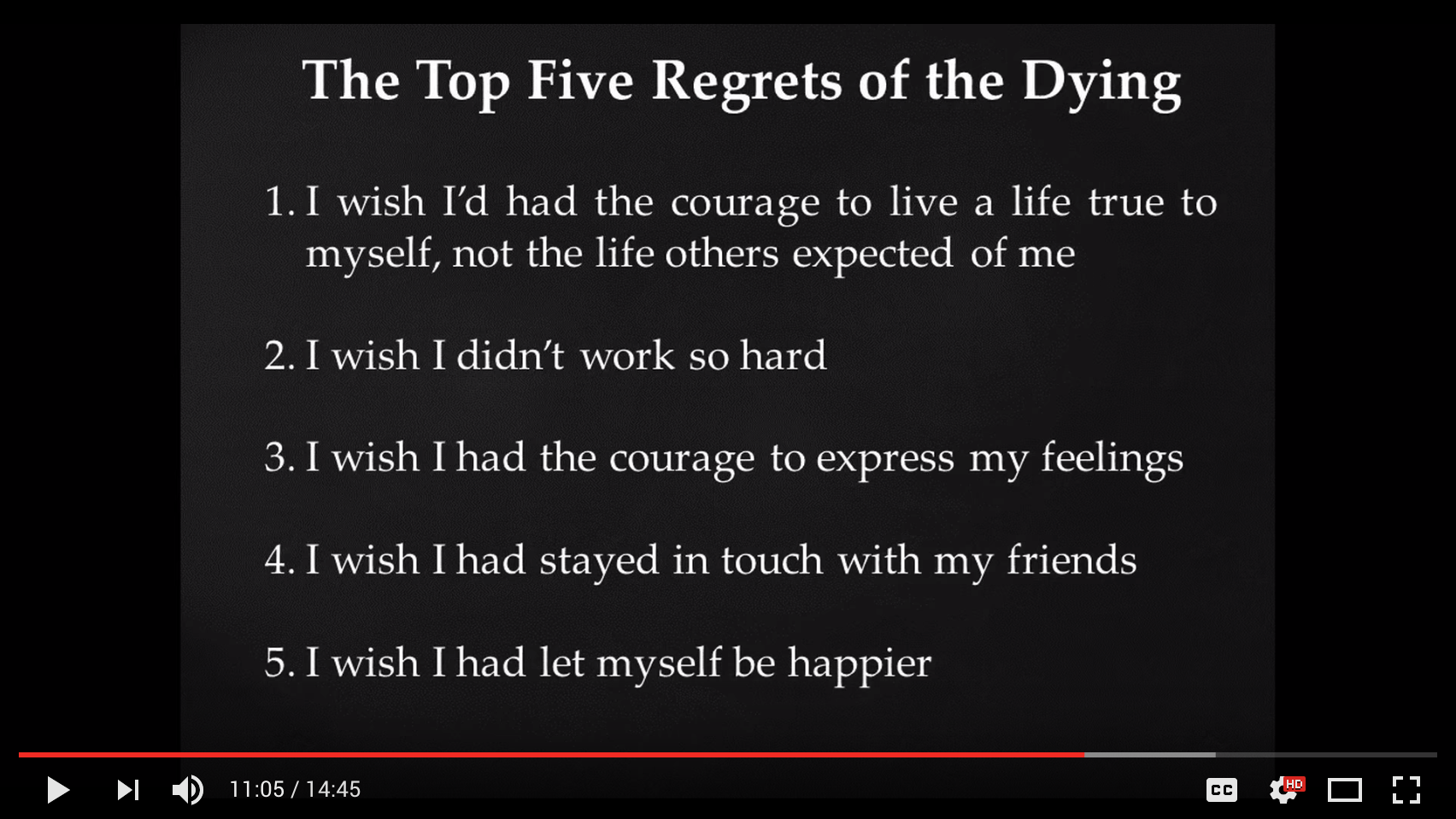 "Screenshot of Lisa's TEDx talk, showing ""The Top Five Regrets of the Dying."" Click caption to watch."