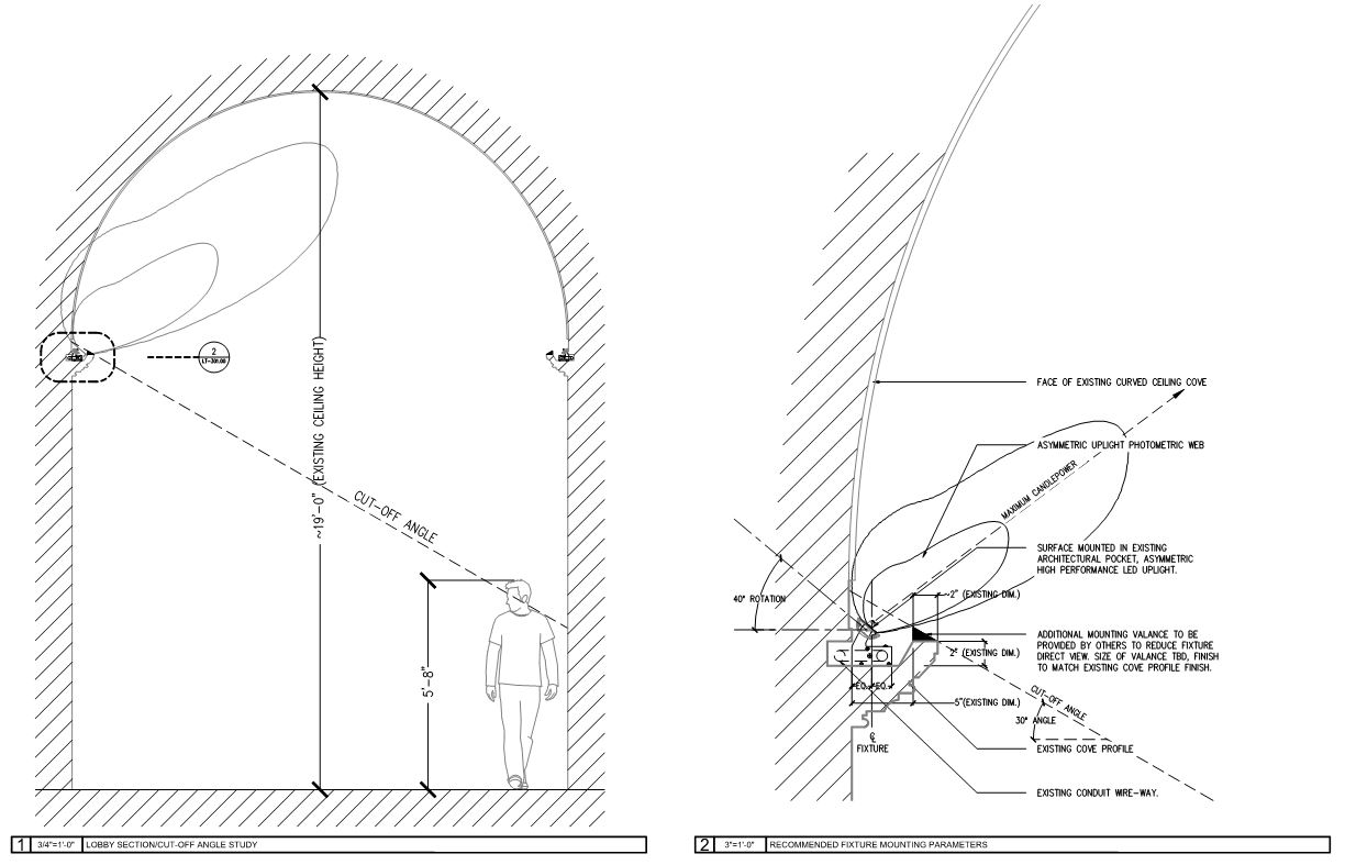 We studied the correct beam spread and distribution required to evenly illuminate the barrel-vaulted ceiling. As this was a retro-fit project, it was critical in selecting the appropriate fixture to be installed, hidden from direct view.