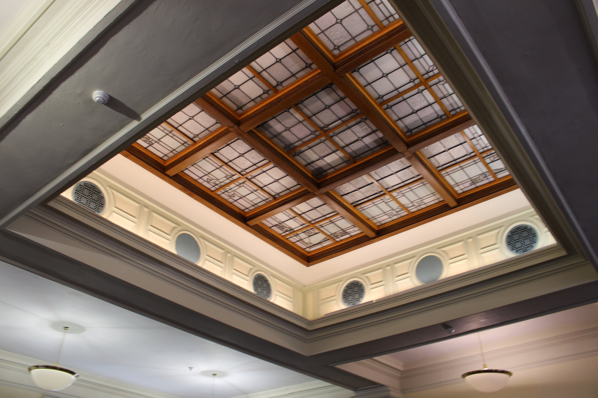 The original skylight had been covered in a mid-century renovation, but it would be opened to the sky in the renovation.