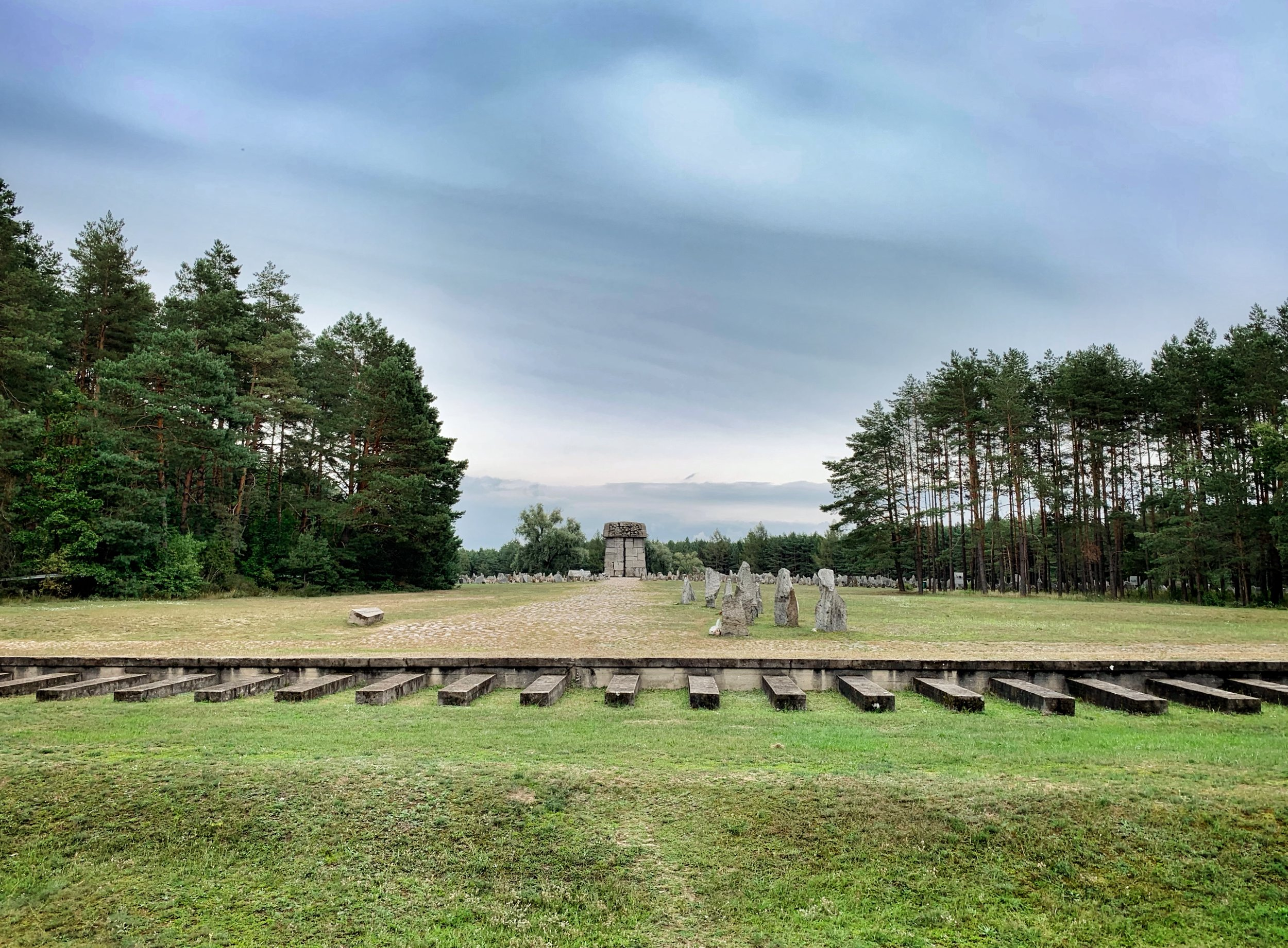 Train car arrival point and view to gas chamber — Treblinka