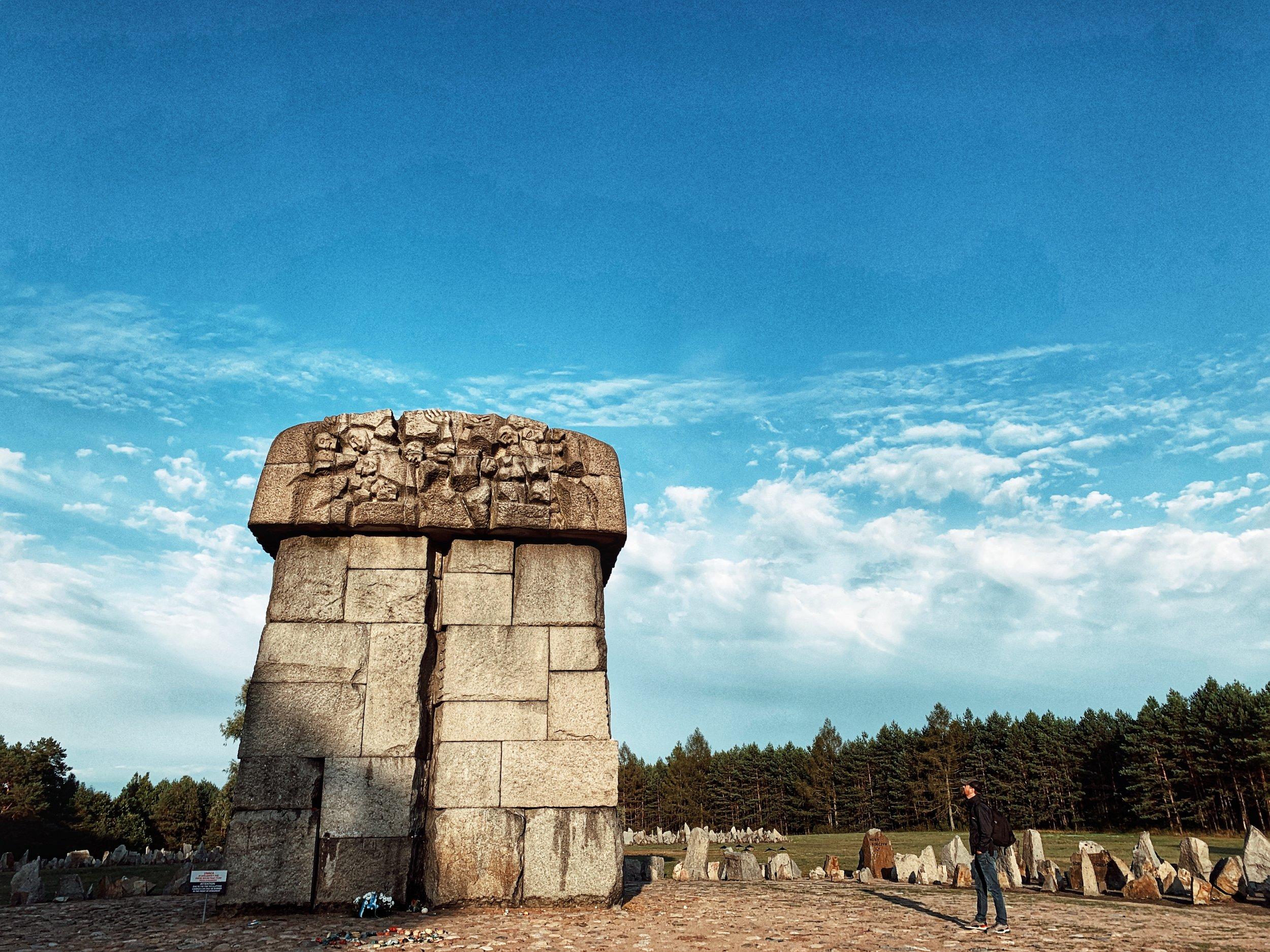 Memorial marker signifying location of gas chamber — Treblinka