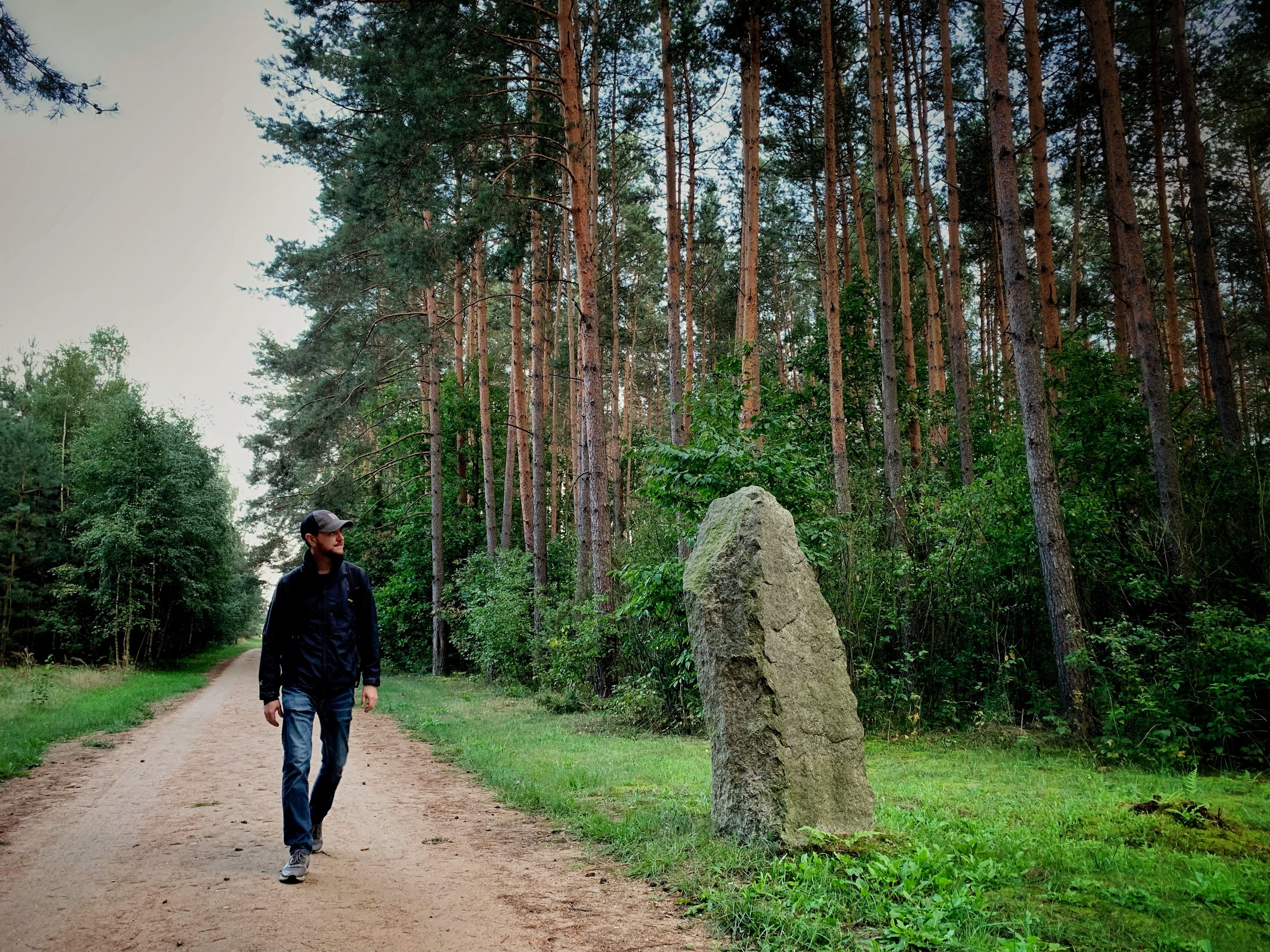 Walking along the perimeter and forest area leading into Treblinka