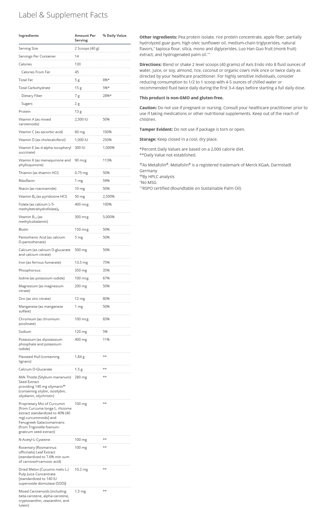 Axis Endo nutritional facts.png