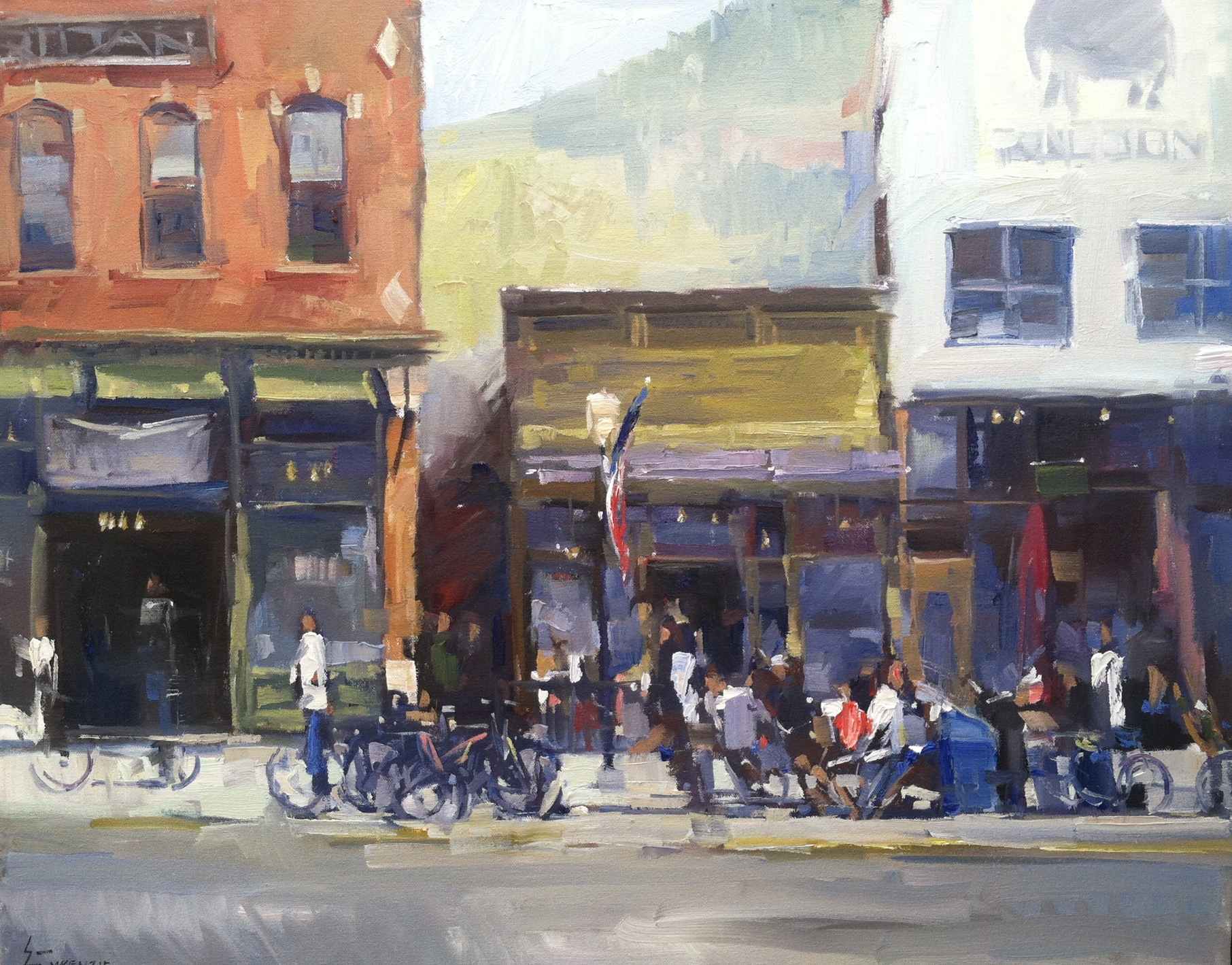 """Hanging on Main Street"" 24x30, $3000."