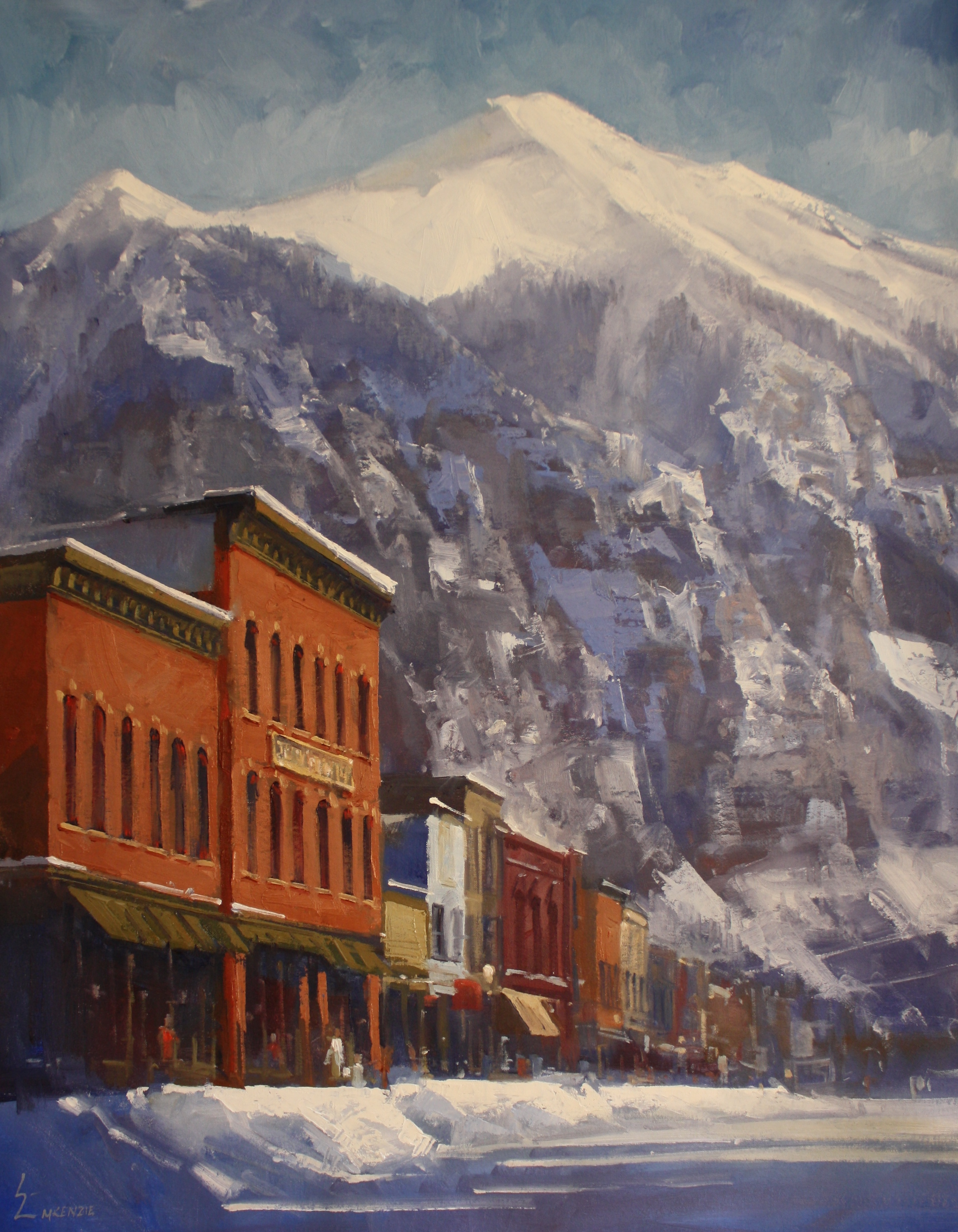 """Colorado Avenue in Winter"" 30x40, $5000."