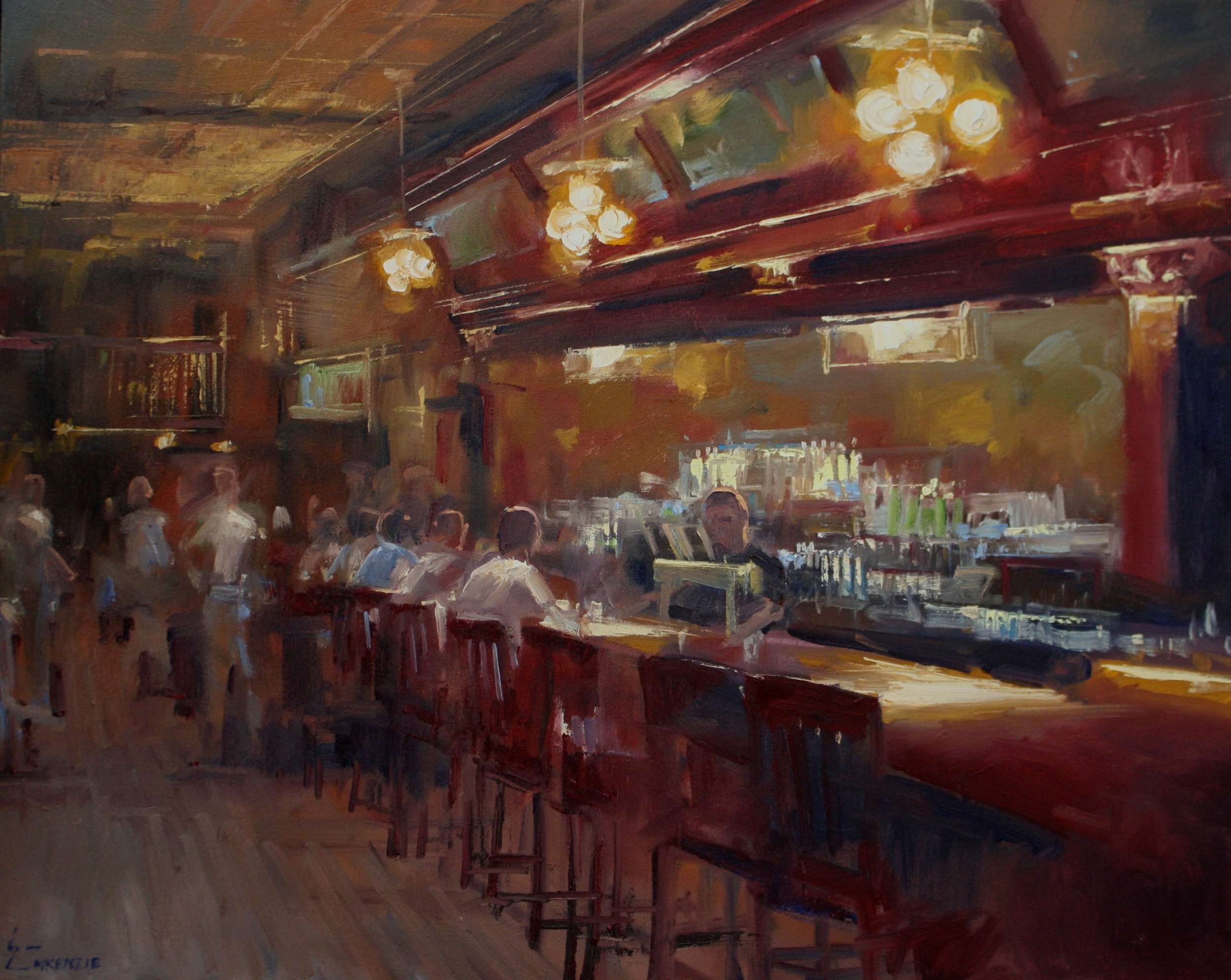"""Friday Night at the New Sheridan"" 24x30, $3000."
