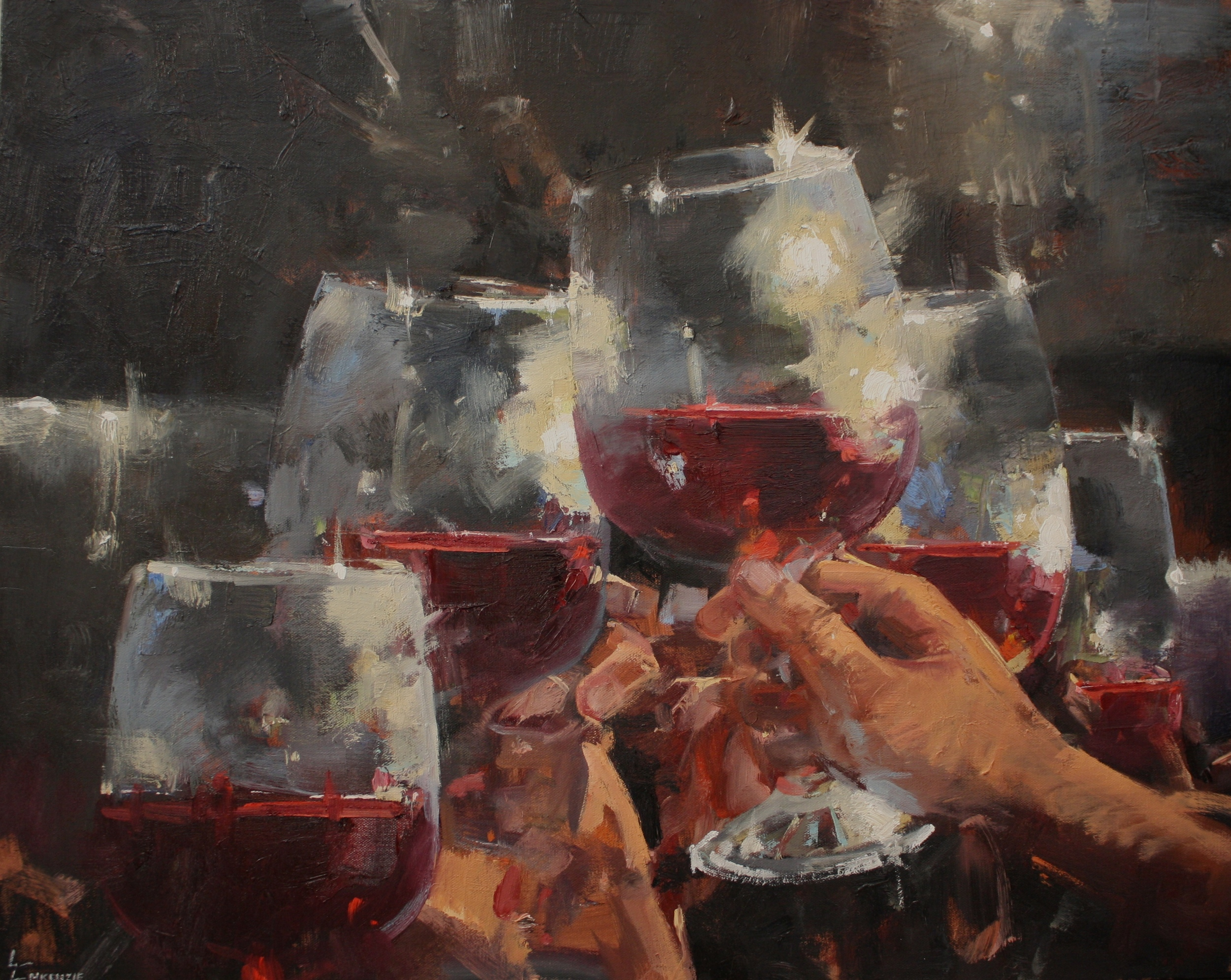 """""""To Good Friends And Good Wine"""" 24x30, $3000."""