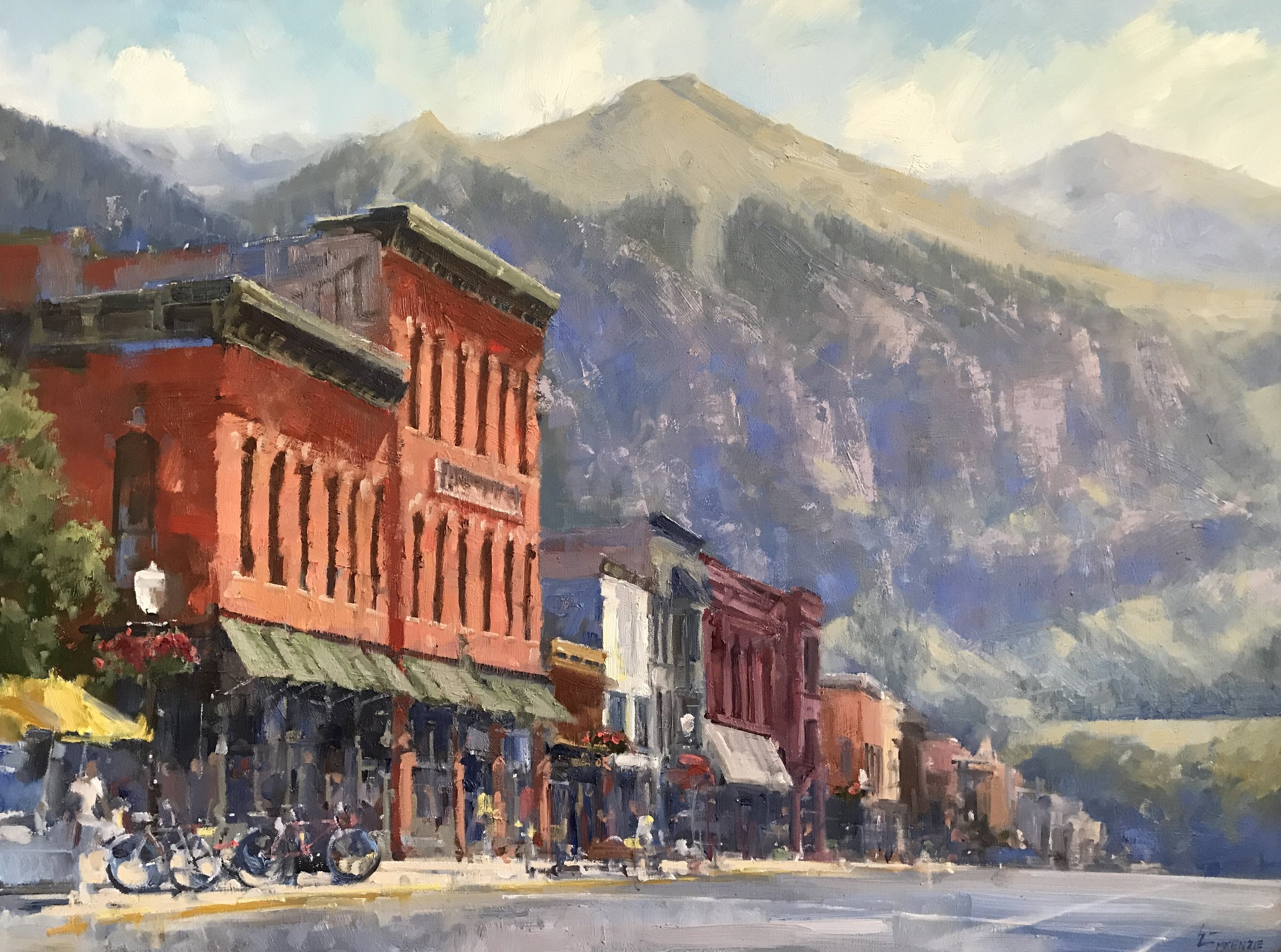 """Yellow Umbrella, Colorado Ave"" 40x60, $8500."
