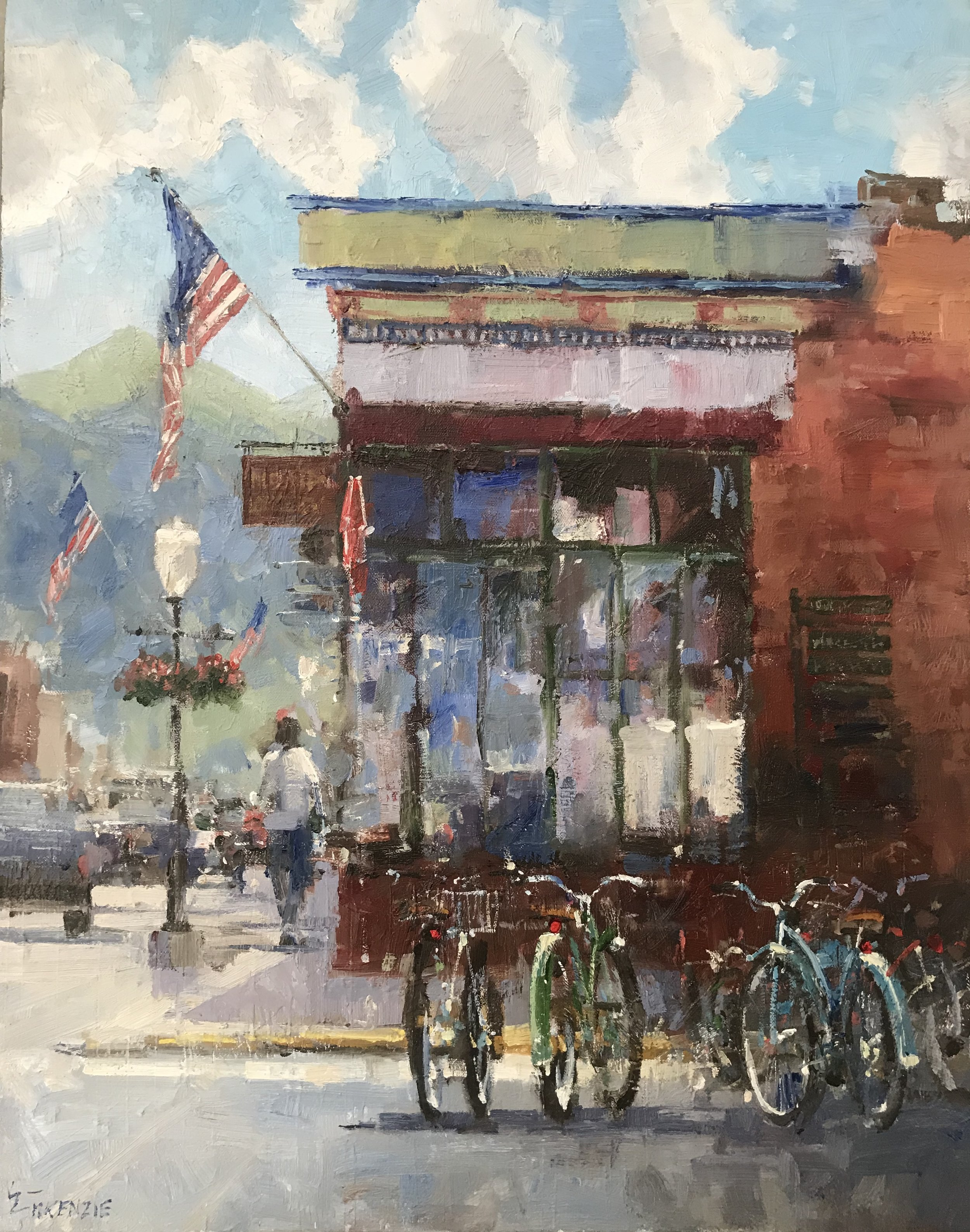 """Bikes at the Buck"" 22x28, $2700."