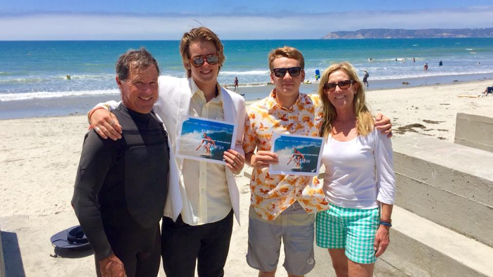 Pictured: 2017 CSA Surfing Scholar Award recipients Ben Outlaw and Kristian Kocherga, along with CMS and CHS Coach Stan Searfus and CSA board member Carolyn Mitchell.