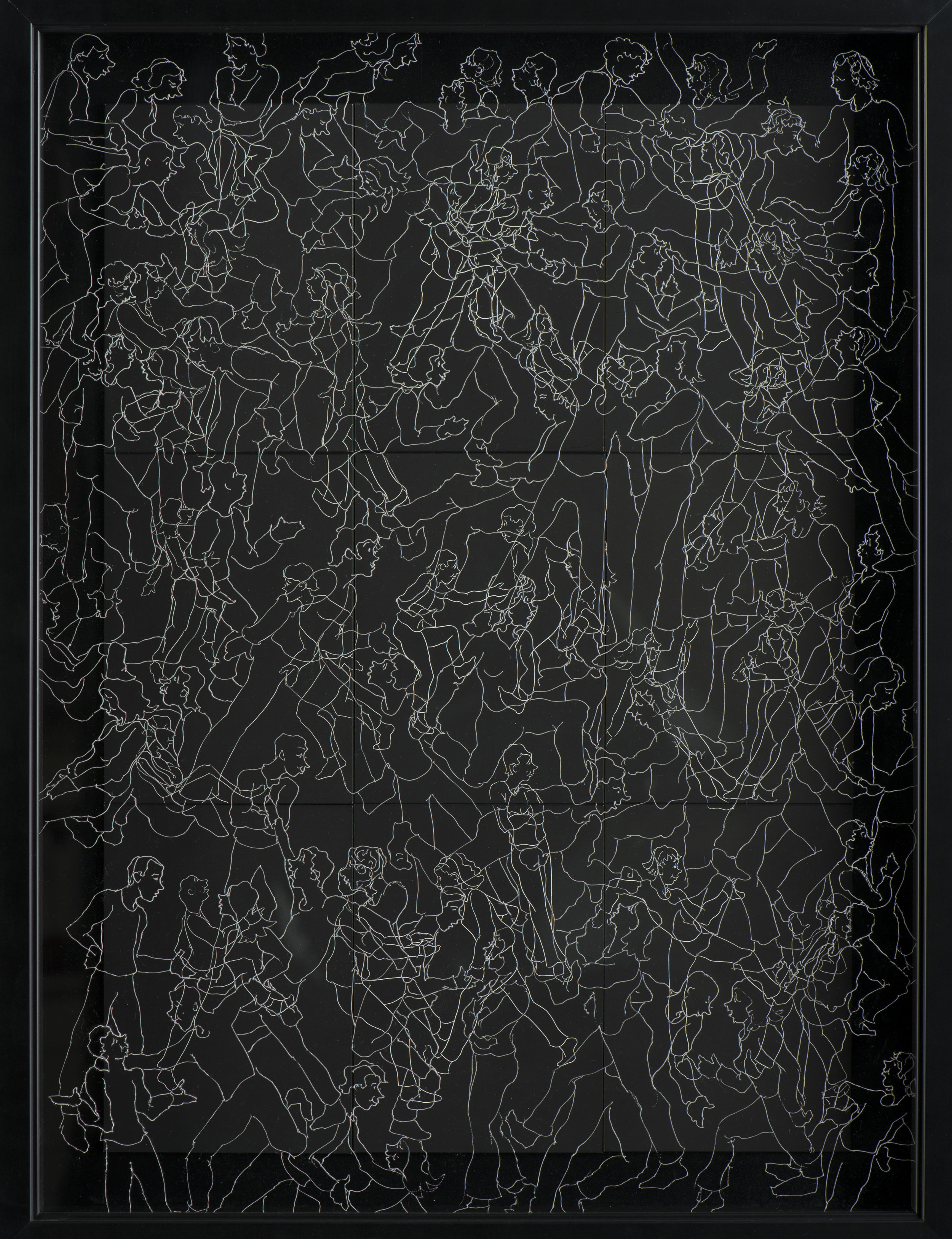 """INTERACTION 3  #3029 Black Scratchboard with Overlay of Etched Plexiglass Framed: 19"""" x 22"""" $1500.00 Studio"""