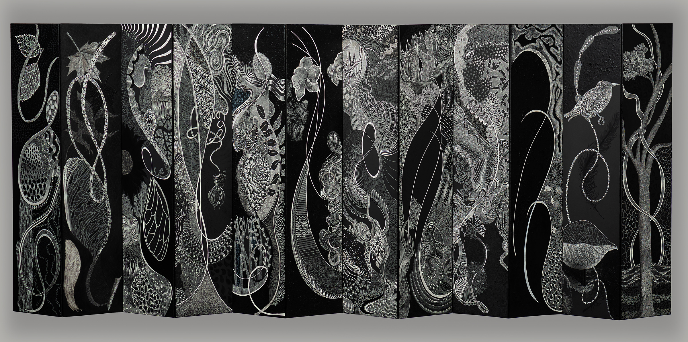 "ACROSS THE BOARD 1  #3182 Black Scratchboard, Acrylic Paint, Ink, Medium 21"" x 48"" x 3"" 2018 $16,000 Studio"