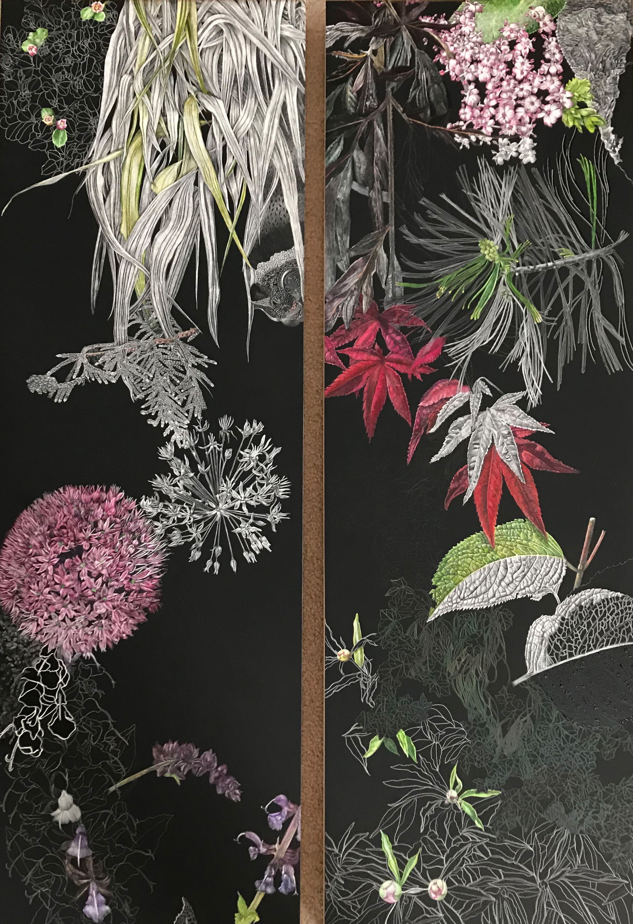 2 Panels of a Triptych of elements from a Collectors Garden by Lisa Goesling