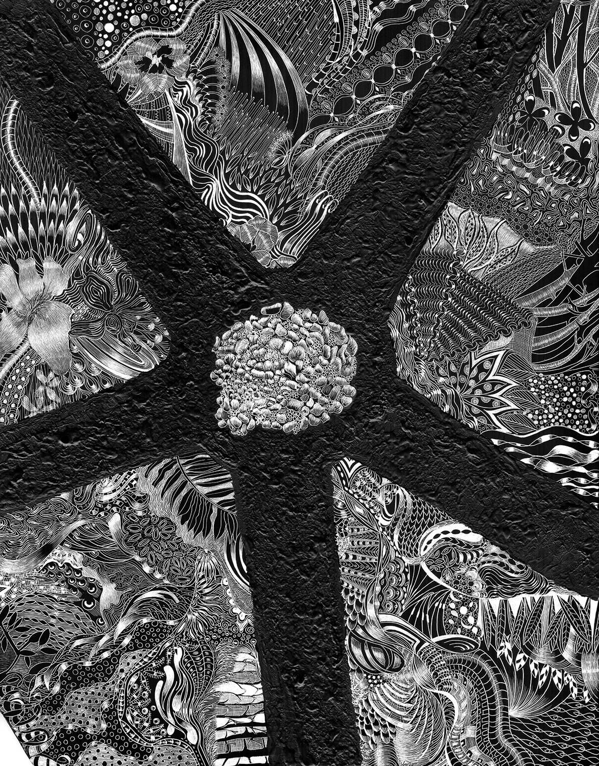 """SC 42  #3151 Black Scratchboard Mounted with Sawtooth Hanger: 11"""" x 14"""" 2017 $2000.00 Freeport Art Museum Exhibition"""