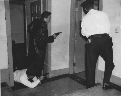 Shootout in the bank basement