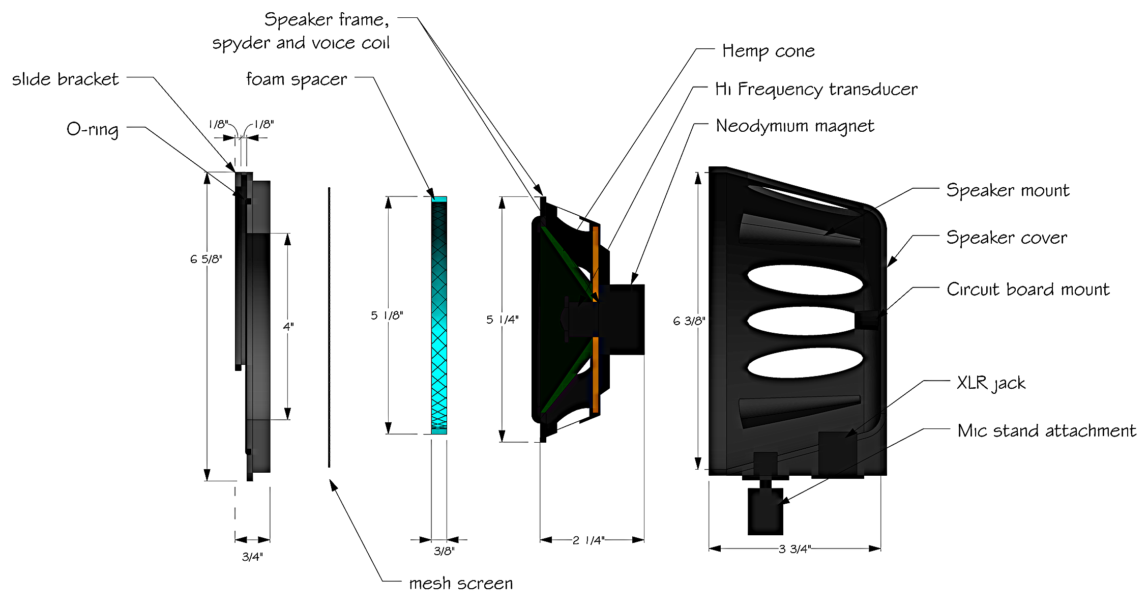 Exploded View of KickTone Microphone