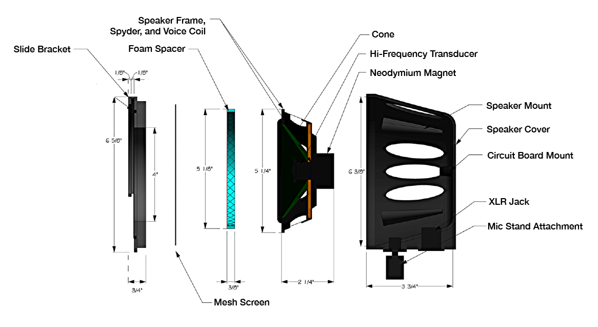 """This is a drawing of the KickTone expanded to show each of its parts. The parts shown are the O-ring, slide bracket, foam spacer, speaker frame, spyder, voice coil, cone, hi-frequency transducer, neodymium magnet, speaker mount, speaker cover, circuit board mount, XLR jack, and mic stand attachment. This drawing also shows approximate sizes of the varoius parts. The overall size is 6 3/8"""" tall and 3 3/4"""" wide."""