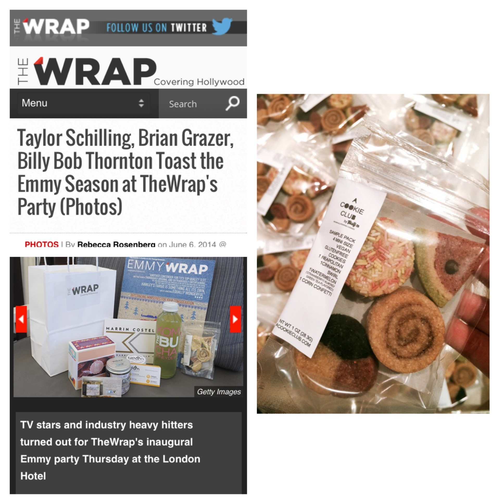 At the beginning of June, we contributed to the gift bags for TheWrap Emmy party at The London hotel. This is when we turned the mini sized versions of our regular cookies into an actual sample pack! This well rounded pack offers a taste of our regular menu favorites. For more photos from the event, please visit: www.thewrap.com/taylor-schilling-billy-bob-thorton-brian-grazer-emmy-party-photos/43/, June 2014. VEGAN / GLUTENFREE