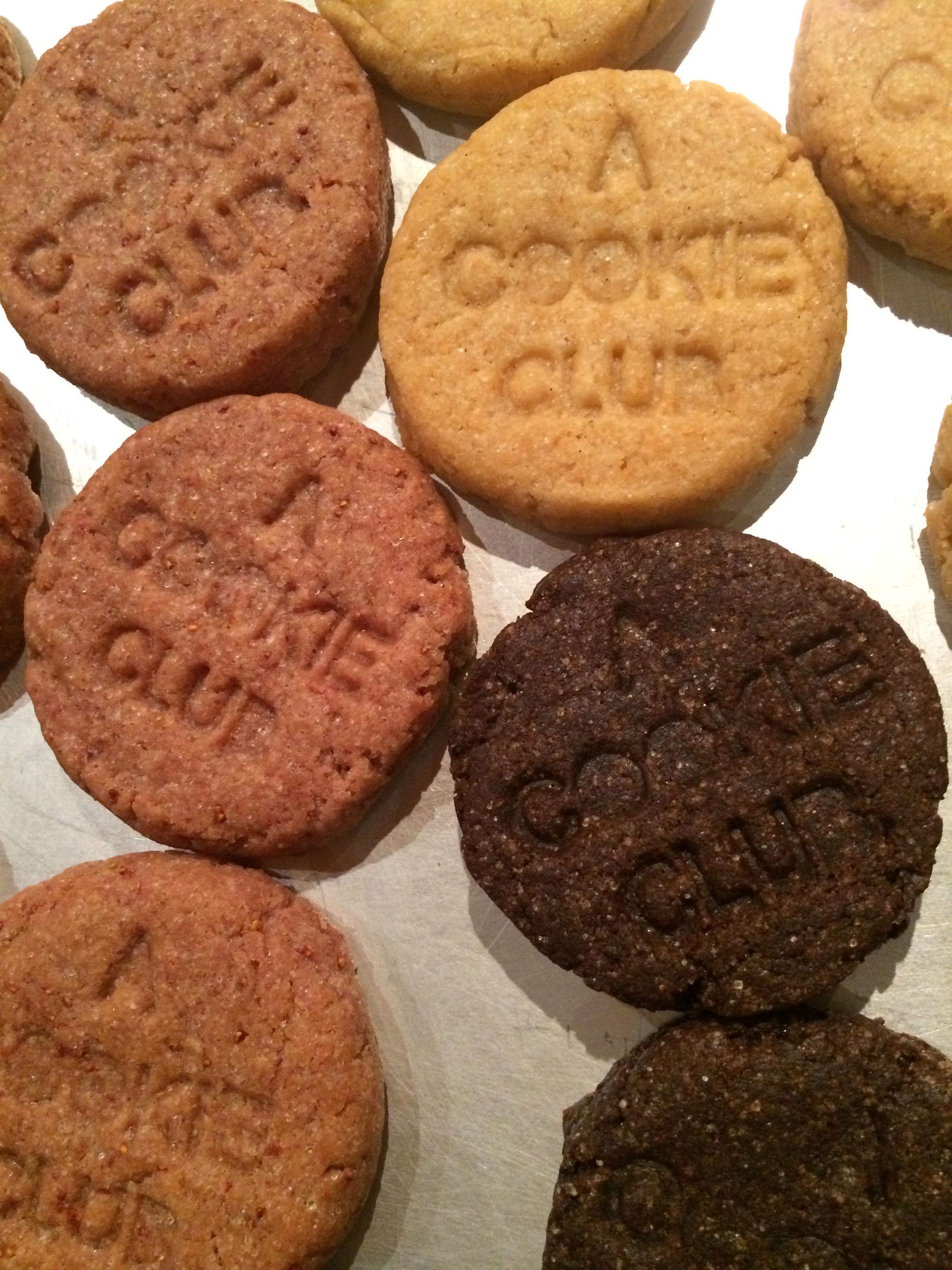 original flavors new look with A COOKIE CLUB logo stamp - strawberry / vanilla / chocolate VEGAN / GLUTENFREE july 2014