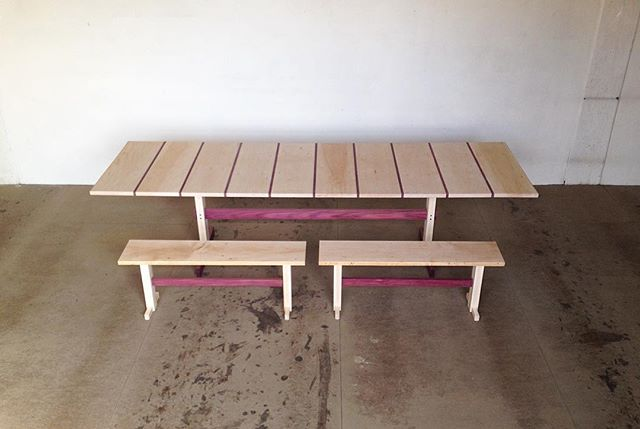 The top of the table and benches is made of reclaimed stair treads from the iron horse hotel. Old growth maple. #furniture #design