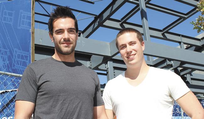 Sam Reid (left) and Justin Kueber of Guerrilla Motion Pictures.    Photo by: GLENN COOK, St. Albert Leader