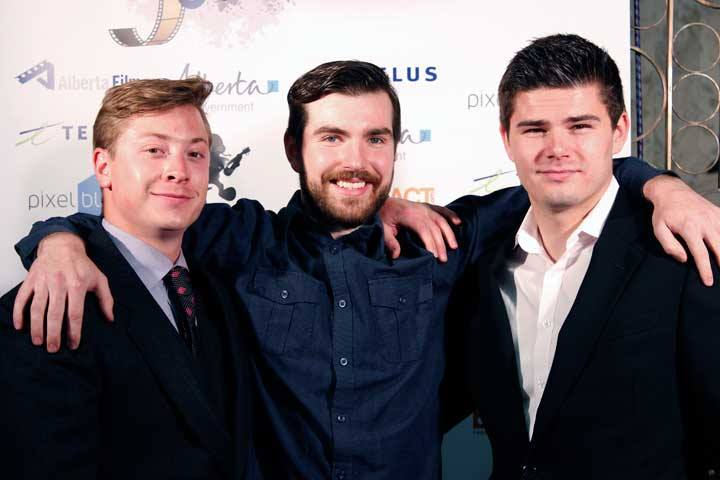 Seen from left to right; Mark Trudel, Nick Smith, and Justin Hardy representing Guerrilla Motion Pictures Inc.