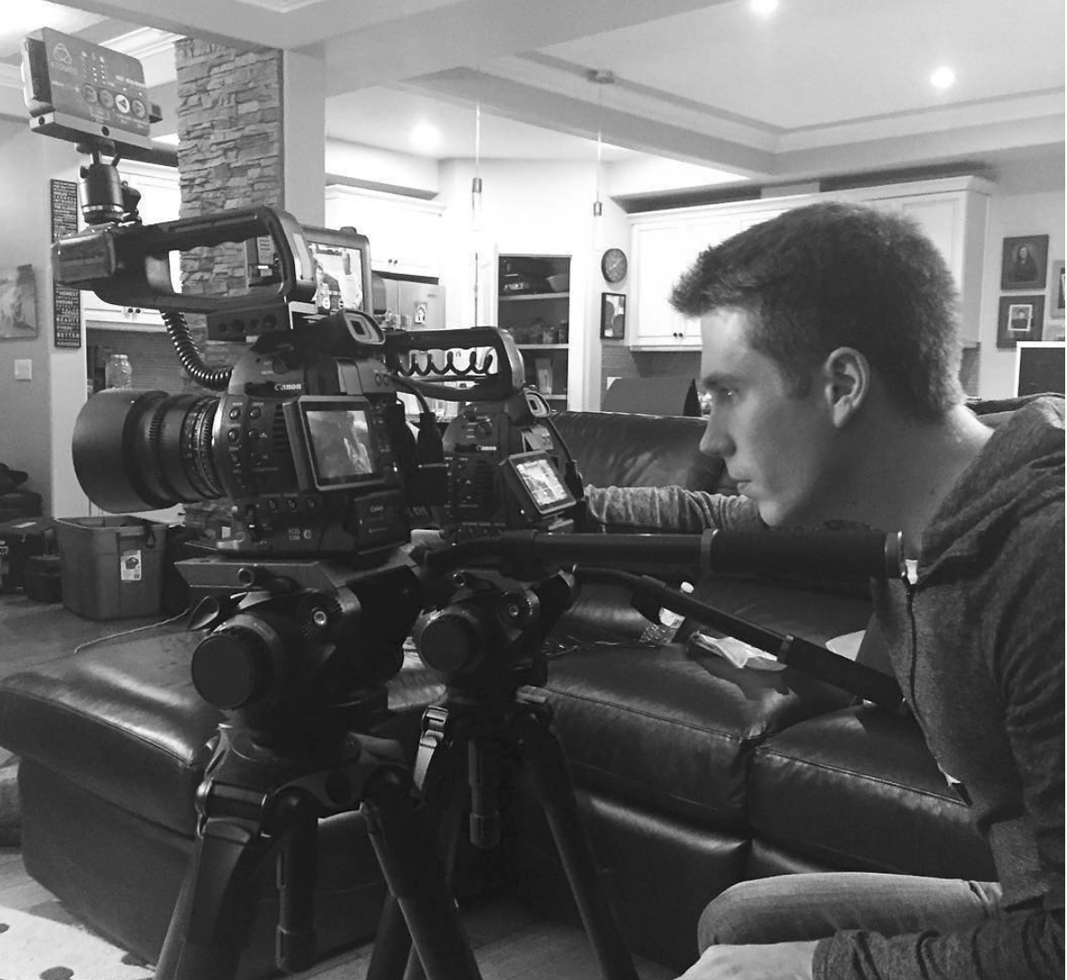 Justin Kueber setting up the two Canon c100 cameras.