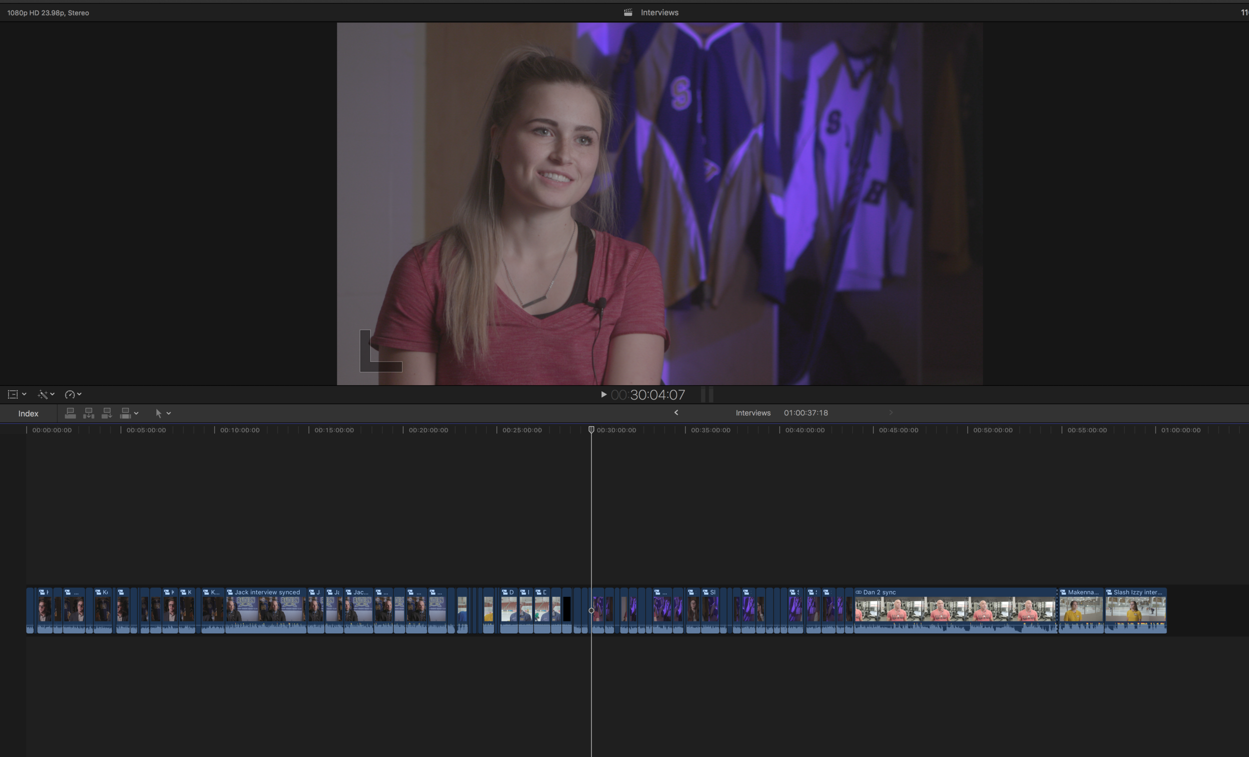 The final cut Pro timeline with all the raw interviews with sound synced.