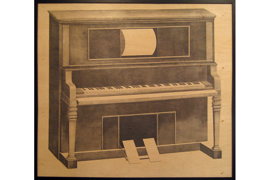 """Wow and Flutter: Player Piano   graphite on wood panel 48""""x60"""" 2011"""