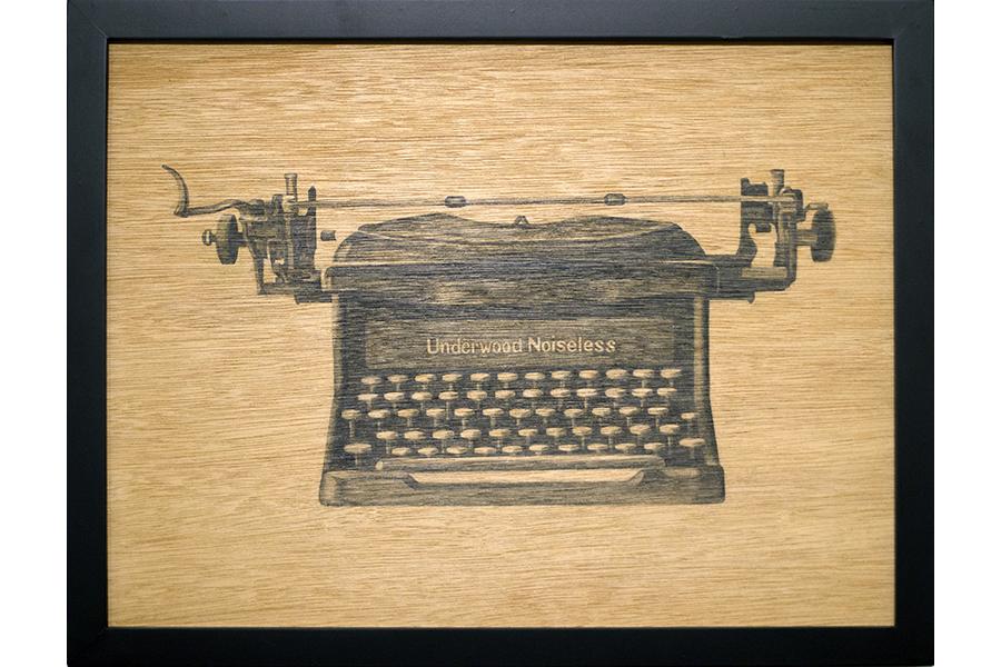 "Underwood Noiseless   graphite on wood 13""x17"" 2013"