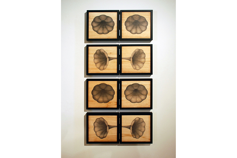 """Hinged Tesseracts   graphite on wood panel Each pair 13""""x 27"""" 2013"""