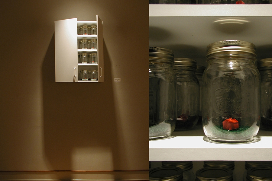 """Canned and Preserved mason jars, artificial grass, cast plaster, paint, and cabinet, 30""""x 24""""x 12"""""""