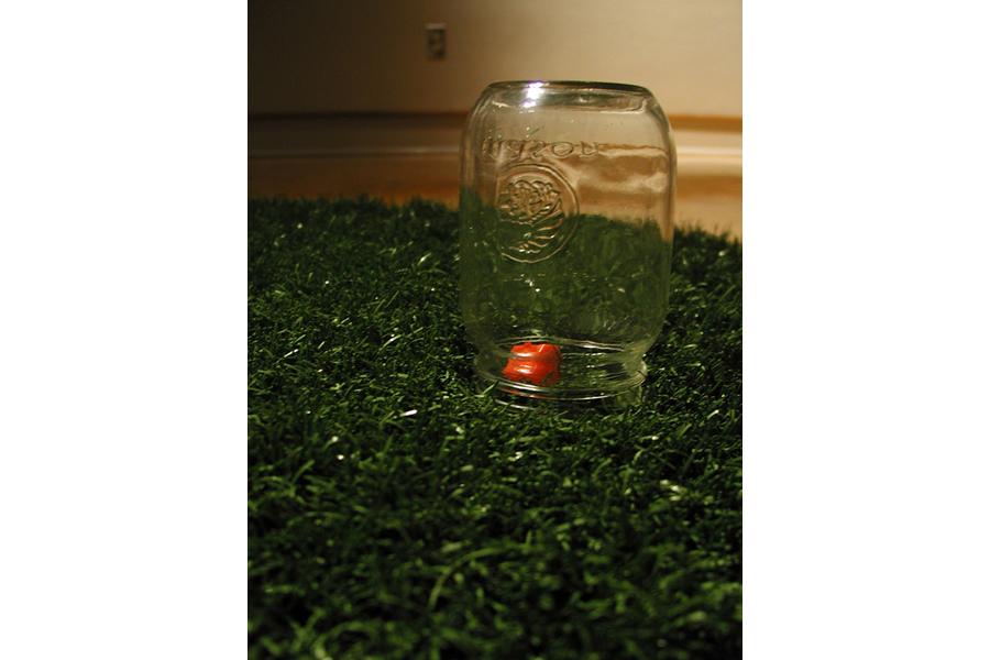 "Gotcha (detail) artificial grass, glass jar, and monopoly house,72"" diameter"
