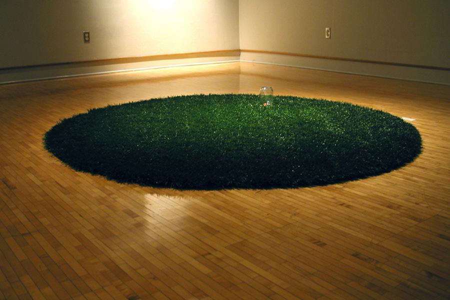 """Gotcha artificial grass, glass jar, and monopoly house,72"""" diameter"""