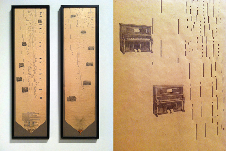 "Wow and Flutter: Player Pianos and Boom Boxes  graphite on piano roll paper, 49""x14"" each panel"