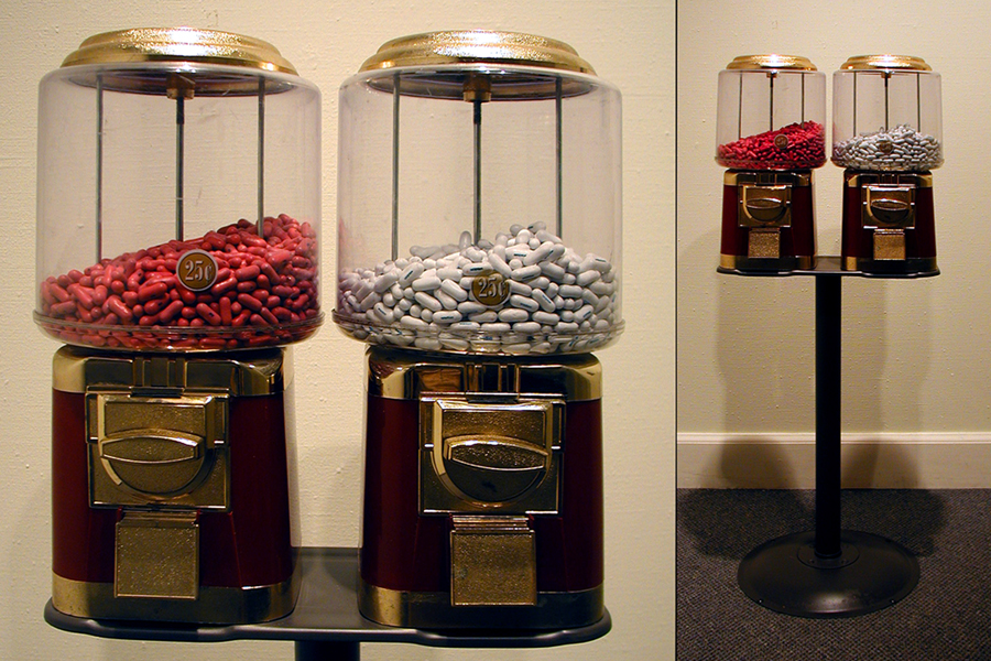 "Entitlement Pills: Wisdom and Joy , 2006 candy machine, Good & Plenty candy, and blue food color, 49"" x 20"" x 12"""