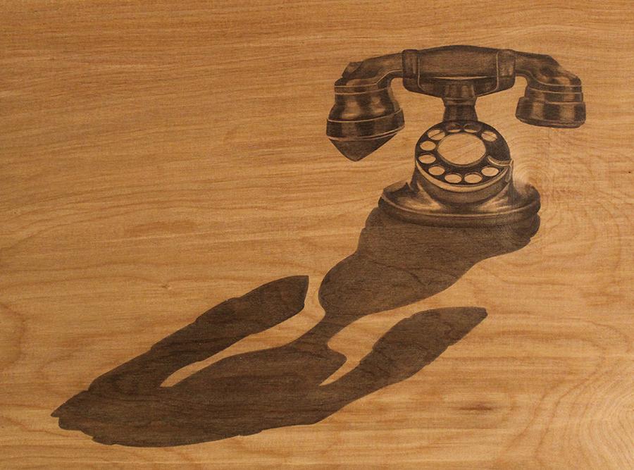 "Dial Tone: Desk Set 1928  graphite on wood panel, 13""x17"", 2019"