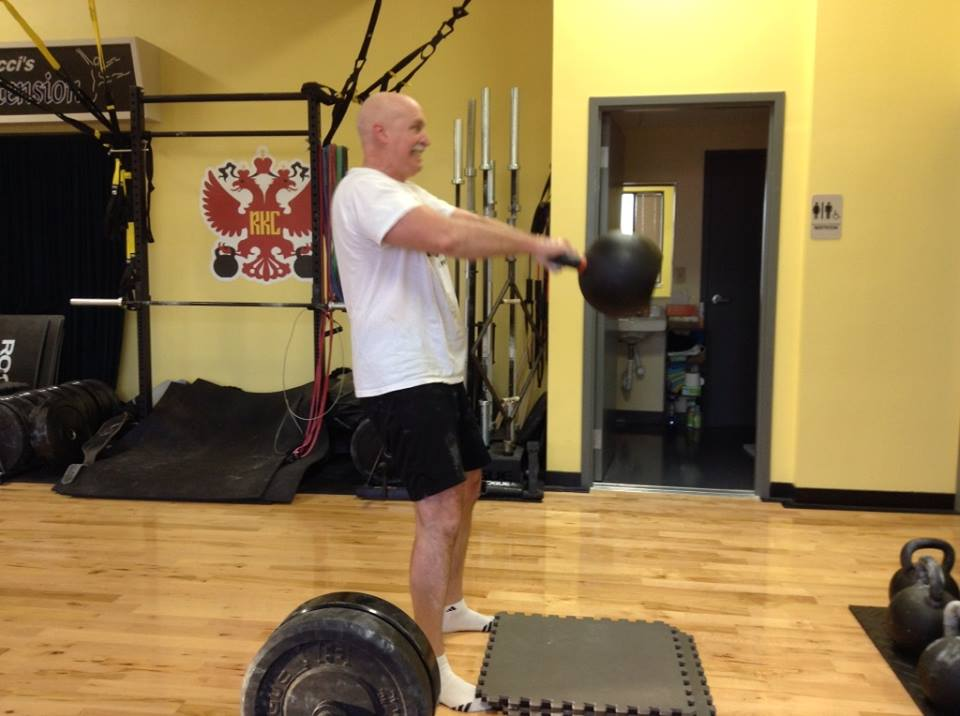 Al swings the 150# KB for several sets of 10!