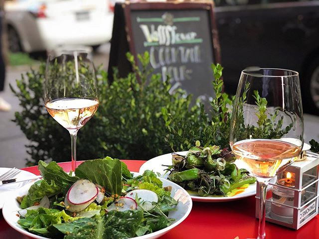 The patio is open ✅ Rose ✅ Spring salad ✅ Chill, West Village vibes ✅ Dinner and happy hour starts at 5:30pm. #happymemorialday #happymemorialdayweekend #wallflowernyc #westvillage #happyhour #roseallday