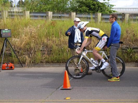 Corey Tracey about to explode off of the line in the TT