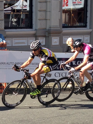 Michael taking on the challenging criterium course in Bastion Square.
