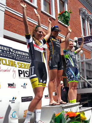 Justine Clift finishes 3rd in the time trial.