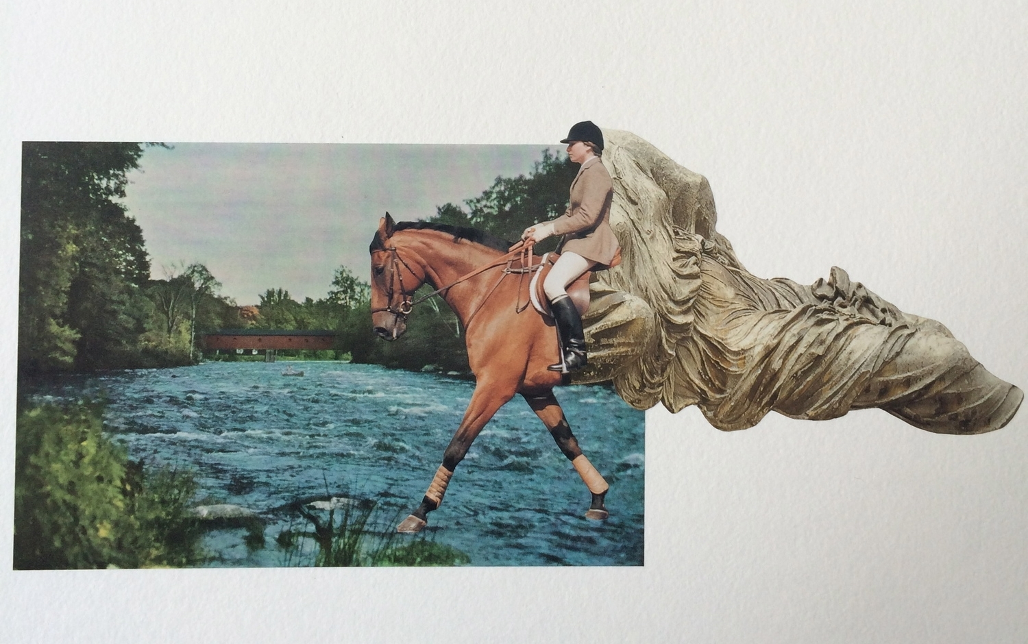 """The Only Way Home   24"""" x 18"""" Hand Cut Paper Collage on Vellum Paper"""